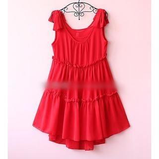 Munai - Sleeveless Ruffled Dress with Camisole Top