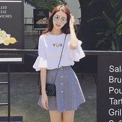 Glen Glam - 套裝: 笑臉中袖T恤 + 格子飾鈕釦A字裙