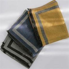 YOOM - Fringed Contrast-Trim Knit Scarf