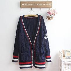 akigogo - Striped Cable Knit Long Cardigan