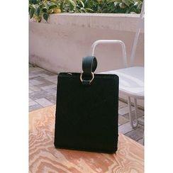 migunstyle - Metallic-Detail Faux-Fur Tote Bag