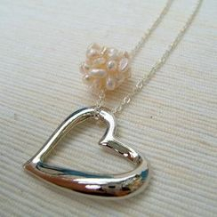 MyLittleThing - Pearl Cron Heart Shape Necklace