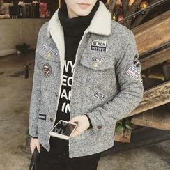 JUN.LEE - Fleece Collar Applique Jacket