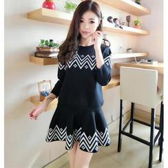 Bubbleknot - Set: Wave Print Knit Top + A-Line Skirt