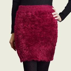 Shatan - Furry Knit Skirt