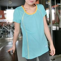 Morning Body - Lattice Short-Sleeve Quick Dry Top
