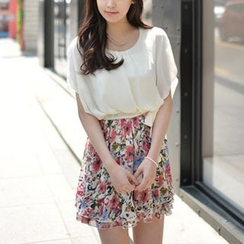 Dowisi - Mock Two-Piece Floral Dress
