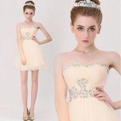 Gracia - Strapless Rhinestone Bridesmaid Dress