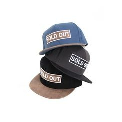 MODSLOOK - Faux Leather-Trim Lettering Baseball Cap