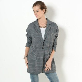 59 Seconds - Single-Button Plaid Jacket