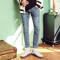 MEOSIDDA - Distressed Tapered Jeans
