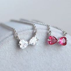 Blinglitz - 925 Sterling Silver Rhinestone Bow Necklace