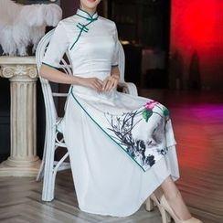 Miss Four Qipao - Printed Short-Sleeve A-Line Midi Cheongsam