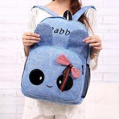 QeQ - Bow-Accent Rabbit Canvas Backpack