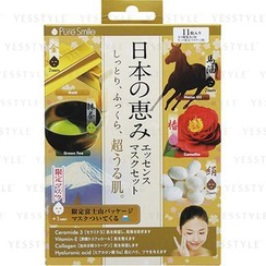 Sun Smile - Pure Smile Essence Mask Set: Horse Oil x 2 + Green Tea x 2 + Camellia x 2 + Silk x 2 + Gold x 2 + Mt Fuji x 1