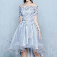 Luxury Style - Off-Shoulder Short-Sleeve High-Low Cocktail Dress