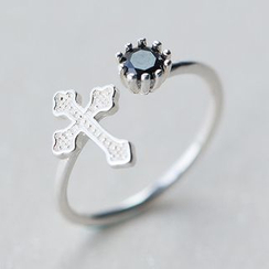 A'ROCH - 925 Sterling Silver Cross Open Ring