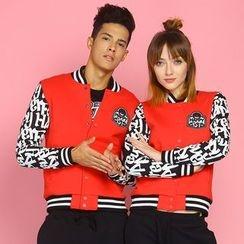 HappyTee - Lettering-Sleeve Couple Baseball Jacket