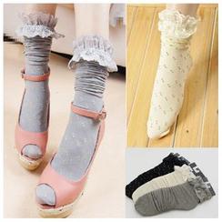Kally Kay - Lace Trim Dotted Socks