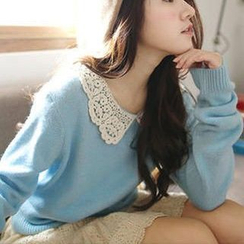 Tokyo Fashion - Crochet-Collar Knit Top