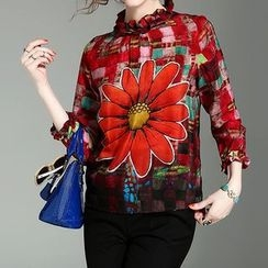 Alaroo - Flower Print 3/4 Sleeve Blouse