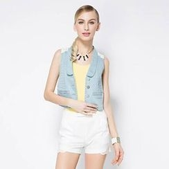 O.SA - Lace-Back Denim Vest