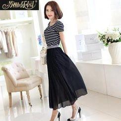Paradiso - Set: Short-Sleeve Striped Knit Dress + Sheer Maxi Skirt