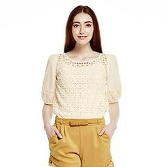 O.SA - Elbow-Sleeve Lace Top