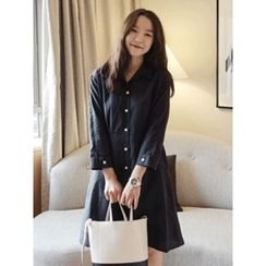 maybe-baby - 3/4-Sleeve Cotton Shirtdress