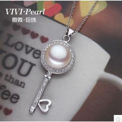 ViVi Pearl - Freshwater Pearl Key Sterling Silver Necklace