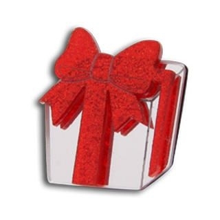 Sweet Red Glitter Present Silver Ring