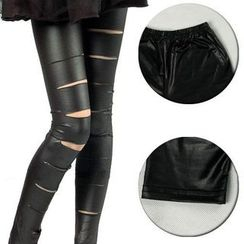 Kally Kay - Ripped Faux-Leather Leggings