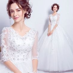 Angel Bridal - 3/4-Sleeve Lace Wedding Dress