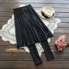YOYO - Inset Pleated Skirt Leggings
