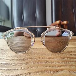 Biu Style - Mirrored Half-Frame Round Sunglasses