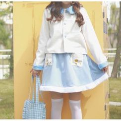GOGO Girl - Set: Bow Neck Coat  + Skirt