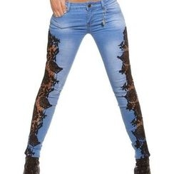 Quintess - Lace-Panel Skinny Jeans