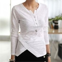 CHICFOX - Long-Sleeve Cutout-Front Henley