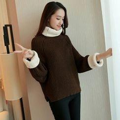 CHERJOE - 配色邊樽領粗織毛衣