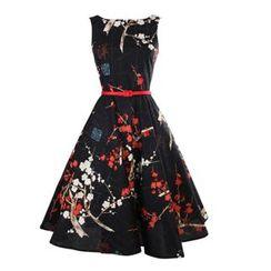 HOTCAKE - Floral Print Sleeveless A-line Dress