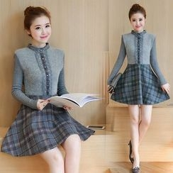 Ekim - Long-Sleeve Knit Panel Plaid Dress