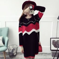 CHERJOE - Color Block Knit Tunic