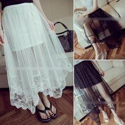 QZ Lady - Lace Panel Mesh Long Skirt