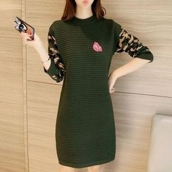 Ekim - Long-Sleeve Camo Panel Knit Dress
