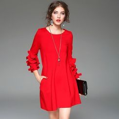Y:Q - Ruffle Sleeve A-Line Dress