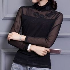 camikiss - Embroidered Mesh Panel Long-Sleeve Top