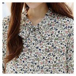 Sechuna - Ruffle-Hem Floral-Patterned Dress