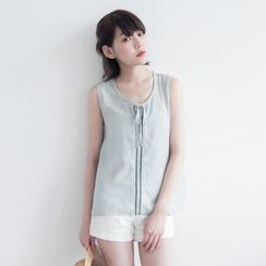 Tokyo Fashion - Sleeveless Tie-Neck Embroidered Top