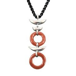 ZN Concept - Red Agate Pendant with Silk Cord