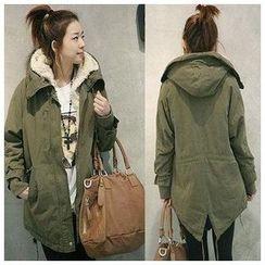 HOTCAKE - Fleece Lined Long Hooded Jacket